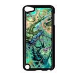 Fractal Batik Art Teal Turquoise Salmon Apple iPod Touch 5 Case (Black) Front