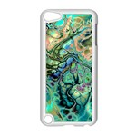 Fractal Batik Art Teal Turquoise Salmon Apple iPod Touch 5 Case (White) Front
