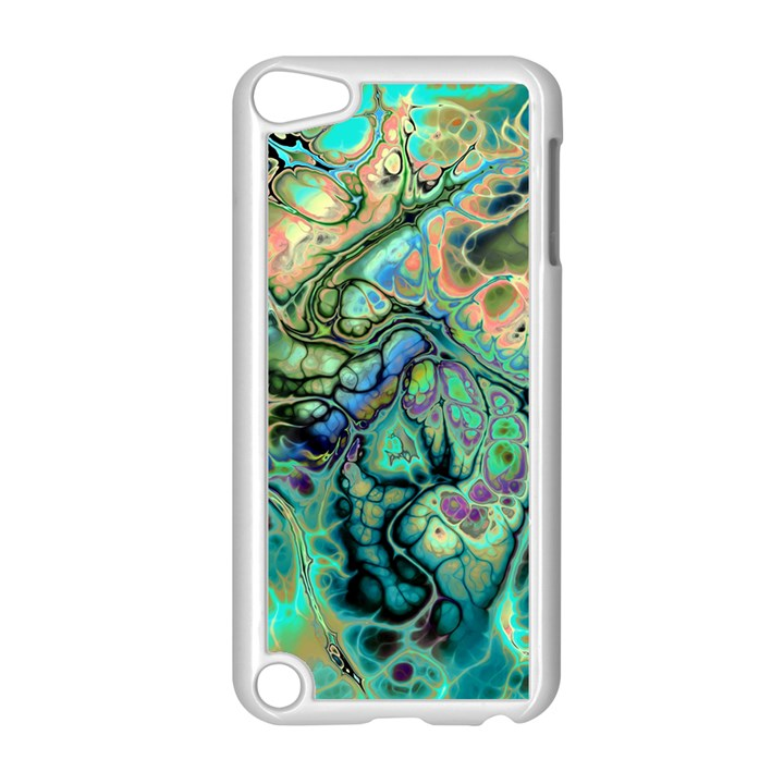 Fractal Batik Art Teal Turquoise Salmon Apple iPod Touch 5 Case (White)