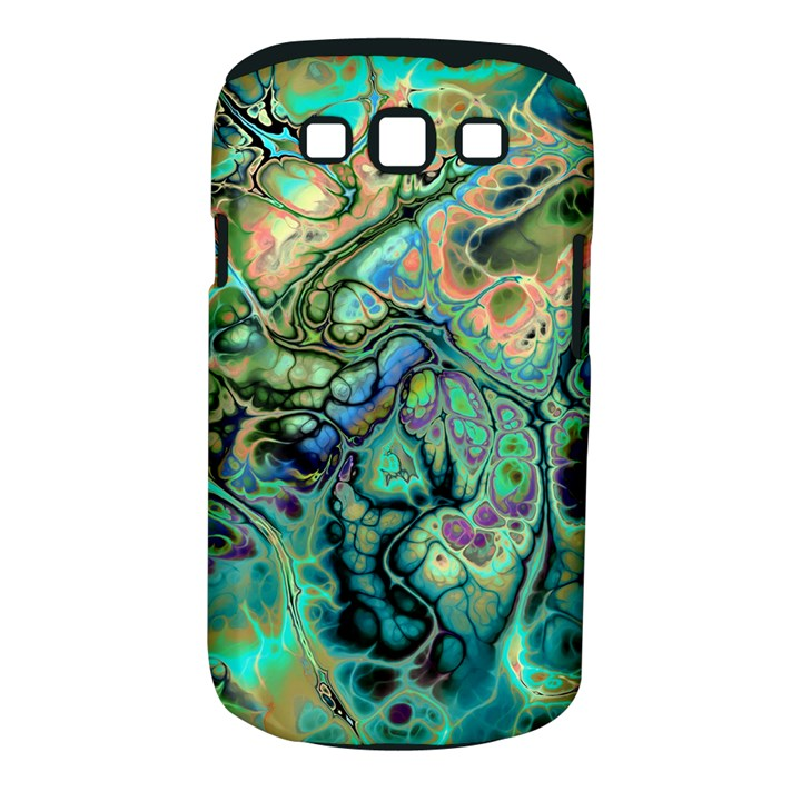 Fractal Batik Art Teal Turquoise Salmon Samsung Galaxy S III Classic Hardshell Case (PC+Silicone)
