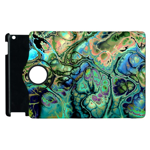 Fractal Batik Art Teal Turquoise Salmon Apple iPad 2 Flip 360 Case