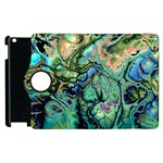Fractal Batik Art Teal Turquoise Salmon Apple iPad 2 Flip 360 Case Front