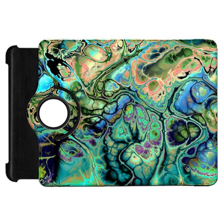 Fractal Batik Art Teal Turquoise Salmon Kindle Fire HD Flip 360 Case