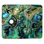 Fractal Batik Art Teal Turquoise Salmon Samsung Galaxy Note II Flip 360 Case Front
