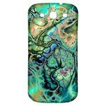 Fractal Batik Art Teal Turquoise Salmon Samsung Galaxy S3 S III Classic Hardshell Back Case Front