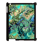 Fractal Batik Art Teal Turquoise Salmon Apple iPad 3/4 Case (Black) Front