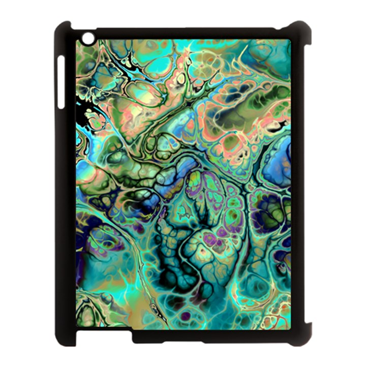 Fractal Batik Art Teal Turquoise Salmon Apple iPad 3/4 Case (Black)