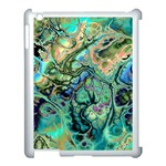 Fractal Batik Art Teal Turquoise Salmon Apple iPad 3/4 Case (White) Front