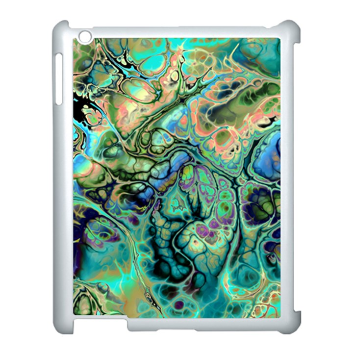 Fractal Batik Art Teal Turquoise Salmon Apple iPad 3/4 Case (White)