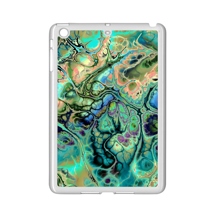 Fractal Batik Art Teal Turquoise Salmon iPad Mini 2 Enamel Coated Cases