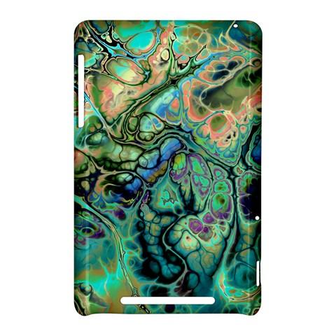 Fractal Batik Art Teal Turquoise Salmon Nexus 7 (2012)
