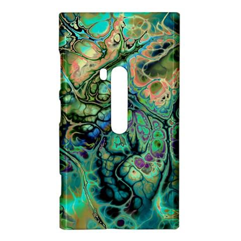 Fractal Batik Art Teal Turquoise Salmon Nokia Lumia 920
