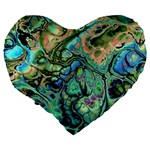 Fractal Batik Art Teal Turquoise Salmon Large 19  Premium Heart Shape Cushions Back
