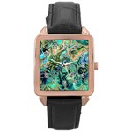 Fractal Batik Art Teal Turquoise Salmon Rose Gold Leather Watch  Front