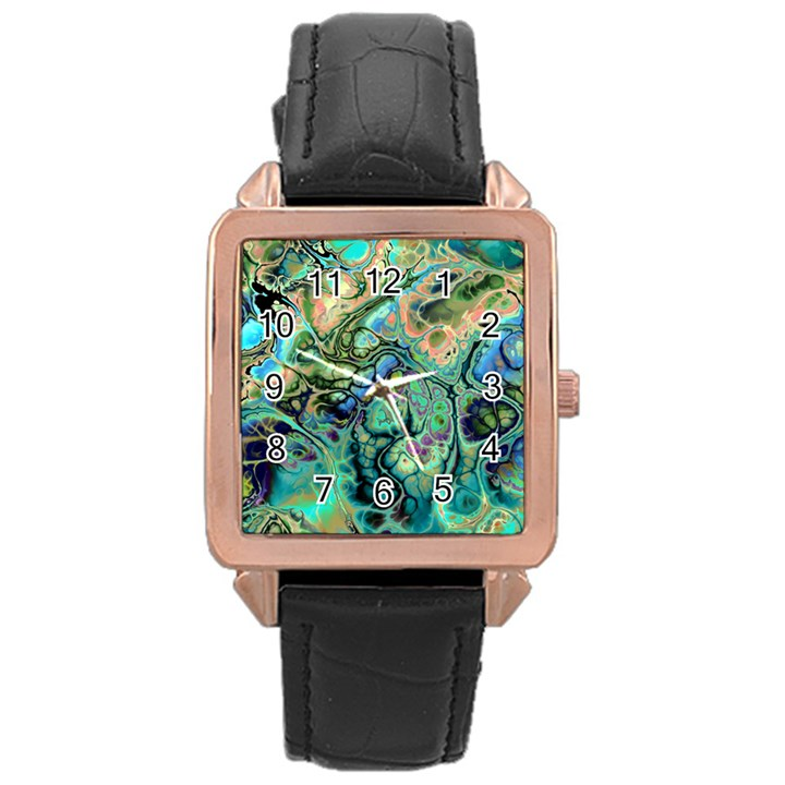 Fractal Batik Art Teal Turquoise Salmon Rose Gold Leather Watch