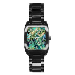 Fractal Batik Art Teal Turquoise Salmon Stainless Steel Barrel Watch