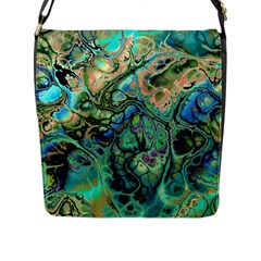 Fractal Batik Art Teal Turquoise Salmon Flap Messenger Bag (L)