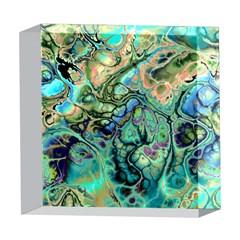 Fractal Batik Art Teal Turquoise Salmon 5  x 5  Acrylic Photo Blocks
