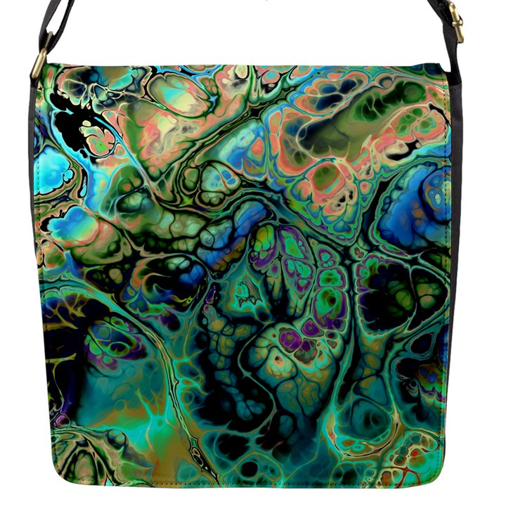 Fractal Batik Art Teal Turquoise Salmon Flap Messenger Bag (S)