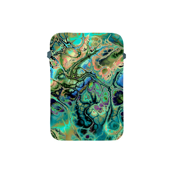 Fractal Batik Art Teal Turquoise Salmon Apple iPad Mini Protective Soft Cases