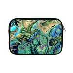 Fractal Batik Art Teal Turquoise Salmon Apple iPad Mini Zipper Cases Front
