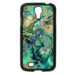 Fractal Batik Art Teal Turquoise Salmon Samsung Galaxy S4 I9500/ I9505 Case (Black) Front