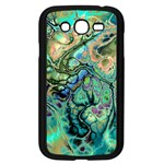 Fractal Batik Art Teal Turquoise Salmon Samsung Galaxy Grand DUOS I9082 Case (Black) Front