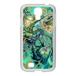 Fractal Batik Art Teal Turquoise Salmon Samsung GALAXY S4 I9500/ I9505 Case (White) Front