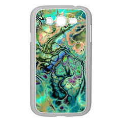 Fractal Batik Art Teal Turquoise Salmon Samsung Galaxy Grand Duos I9082 Case (white)