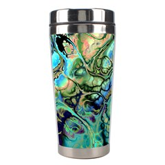 Fractal Batik Art Teal Turquoise Salmon Stainless Steel Travel Tumblers
