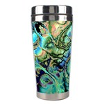 Fractal Batik Art Teal Turquoise Salmon Stainless Steel Travel Tumblers Left