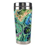 Fractal Batik Art Teal Turquoise Salmon Stainless Steel Travel Tumblers Right