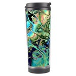 Fractal Batik Art Teal Turquoise Salmon Travel Tumbler Left
