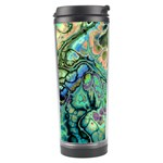 Fractal Batik Art Teal Turquoise Salmon Travel Tumbler Center