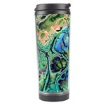 Fractal Batik Art Teal Turquoise Salmon Travel Tumbler Right