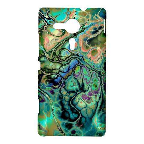 Fractal Batik Art Teal Turquoise Salmon Sony Xperia SP