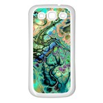 Fractal Batik Art Teal Turquoise Salmon Samsung Galaxy S3 Back Case (White) Front