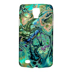 Fractal Batik Art Teal Turquoise Salmon Galaxy S4 Active