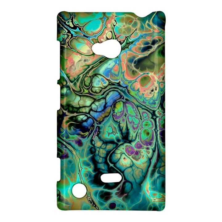 Fractal Batik Art Teal Turquoise Salmon Nokia Lumia 720