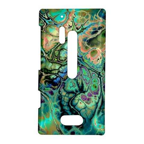 Fractal Batik Art Teal Turquoise Salmon Nokia Lumia 928