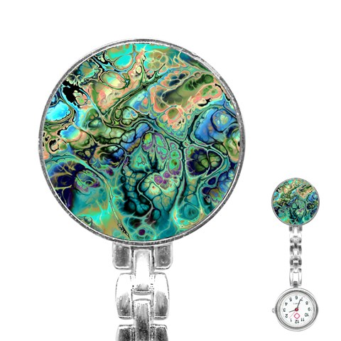 Fractal Batik Art Teal Turquoise Salmon Stainless Steel Nurses Watch