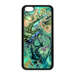Fractal Batik Art Teal Turquoise Salmon Apple iPhone 5C Seamless Case (Black) Front