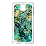 Fractal Batik Art Teal Turquoise Salmon Samsung Galaxy Note 3 N9005 Case (White) Front