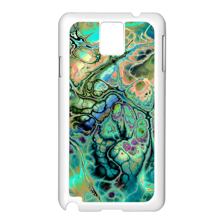Fractal Batik Art Teal Turquoise Salmon Samsung Galaxy Note 3 N9005 Case (White)