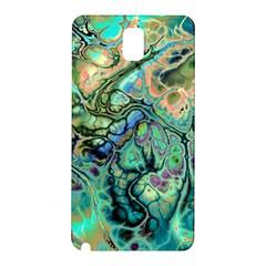 Fractal Batik Art Teal Turquoise Salmon Samsung Galaxy Note 3 N9005 Hardshell Back Case