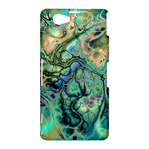 Fractal Batik Art Teal Turquoise Salmon Sony Xperia Z1 Compact