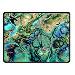 Fractal Batik Art Teal Turquoise Salmon Double Sided Fleece Blanket (Small)  50 x40 Blanket Front