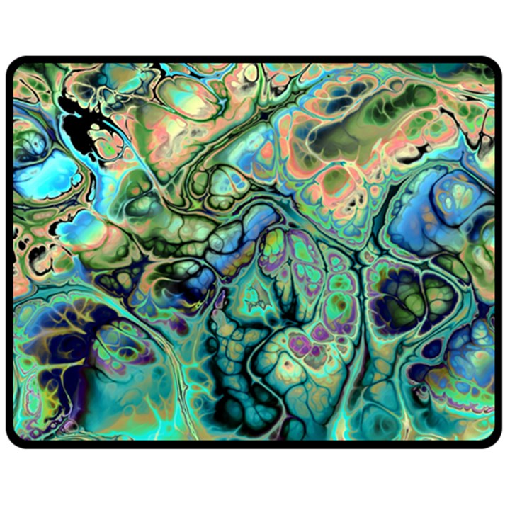 Fractal Batik Art Teal Turquoise Salmon Double Sided Fleece Blanket (Medium)