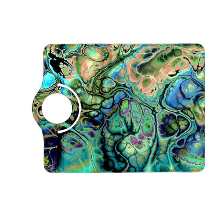 Fractal Batik Art Teal Turquoise Salmon Kindle Fire HD (2013) Flip 360 Case