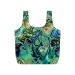 Fractal Batik Art Teal Turquoise Salmon Full Print Recycle Bags (S)  Front